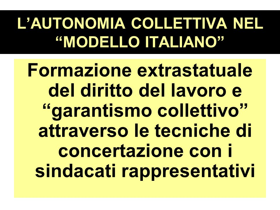 L'AUTONOMIA COLLETTIVA NEL MODELLO ITALIANO