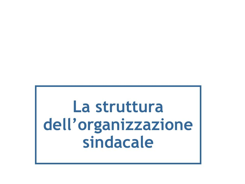 La struttura dell'organizzazione sindacale