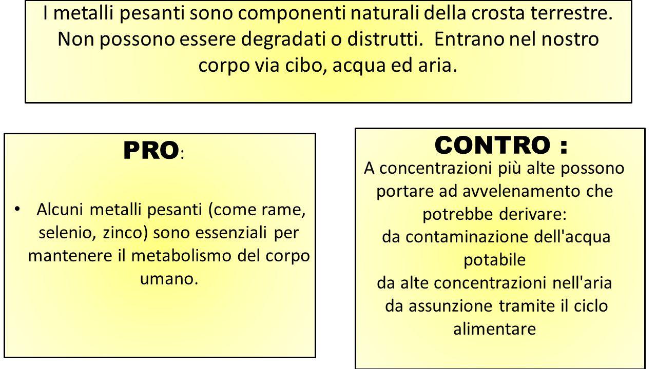 I metalli pesanti sono componenti naturali della crosta terrestre