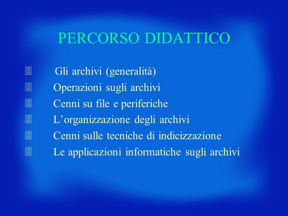 PERCORSO DIDATTICO Gli archivi (generalità) Operazioni sugli archivi