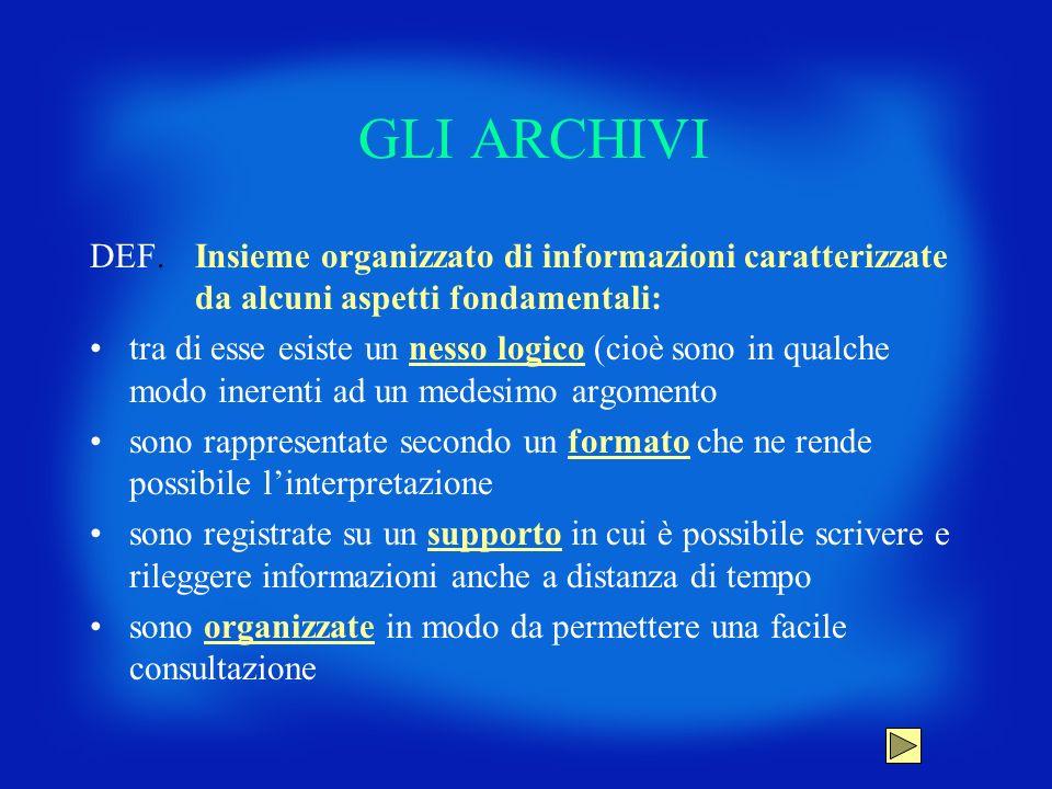 GLI ARCHIVI DEF. Insieme organizzato di informazioni caratterizzate da alcuni aspetti fondamentali: