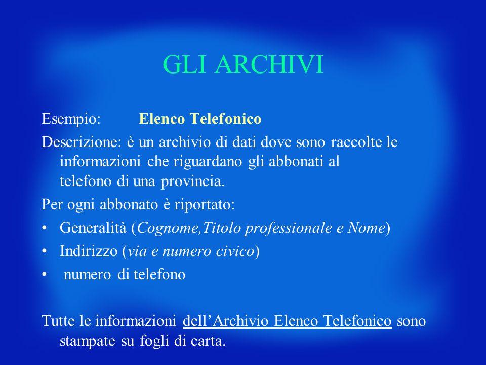 GLI ARCHIVI Esempio: Elenco Telefonico