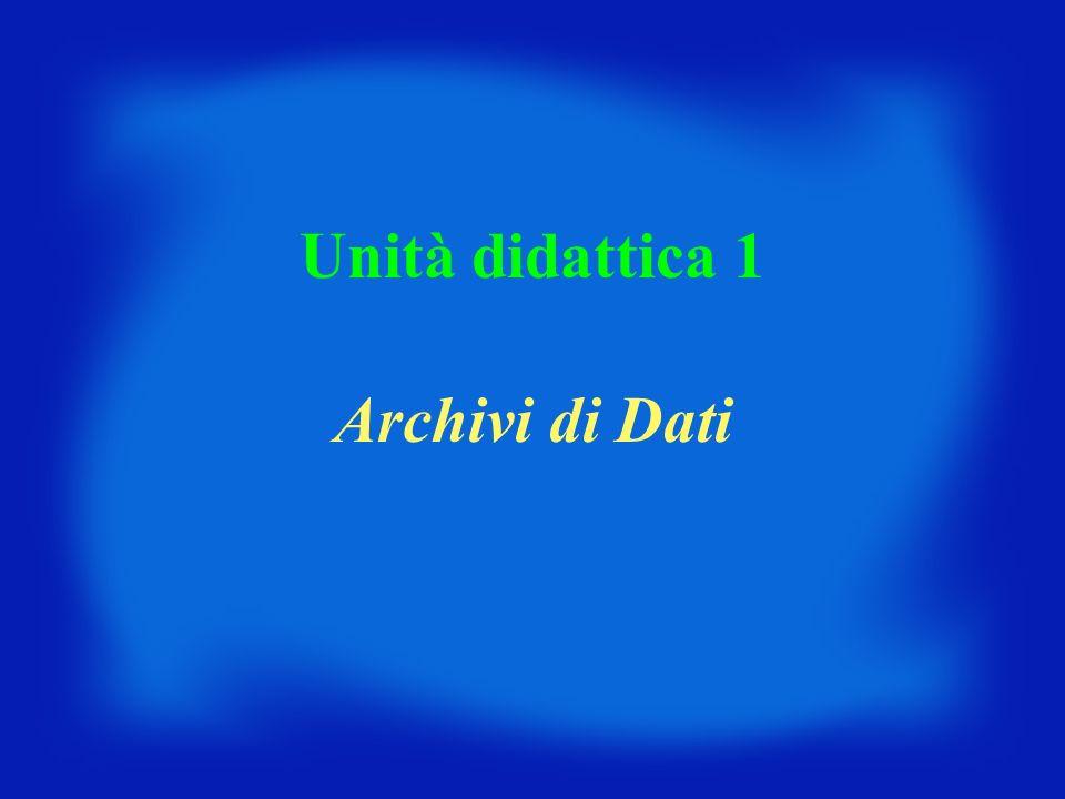 Unità didattica 1 Archivi di Dati