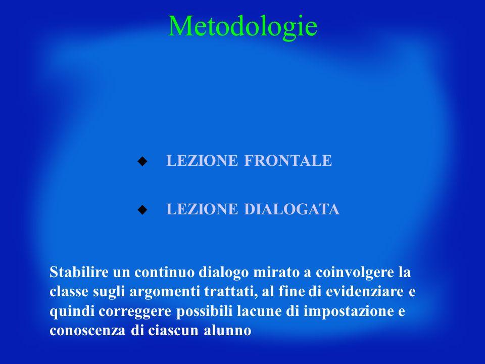 Metodologie LEZIONE FRONTALE LEZIONE DIALOGATA