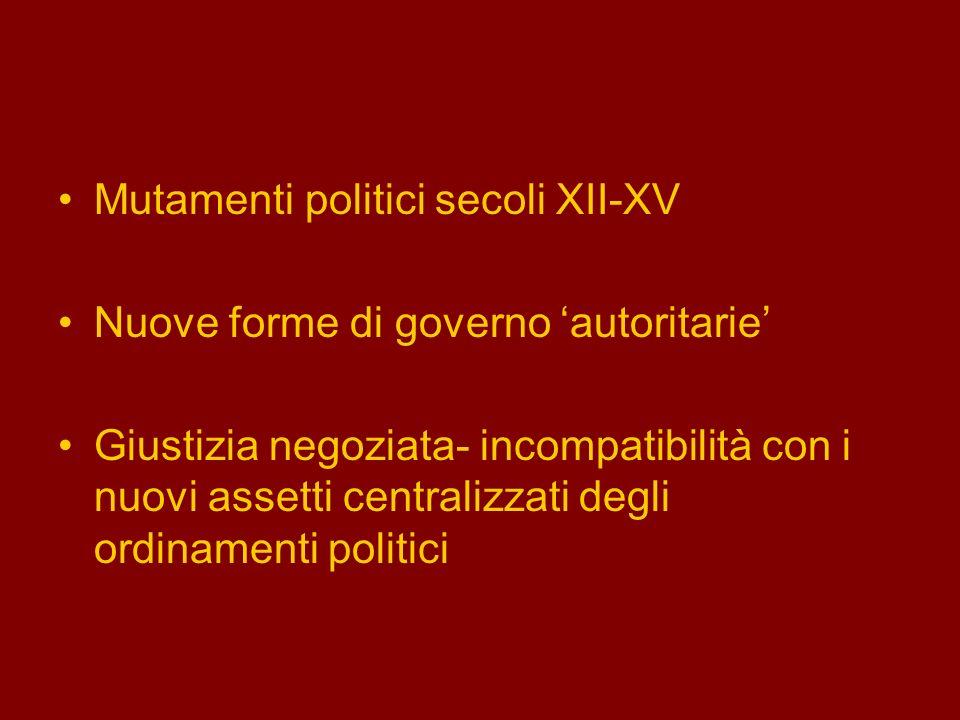 Mutamenti politici secoli XII-XV
