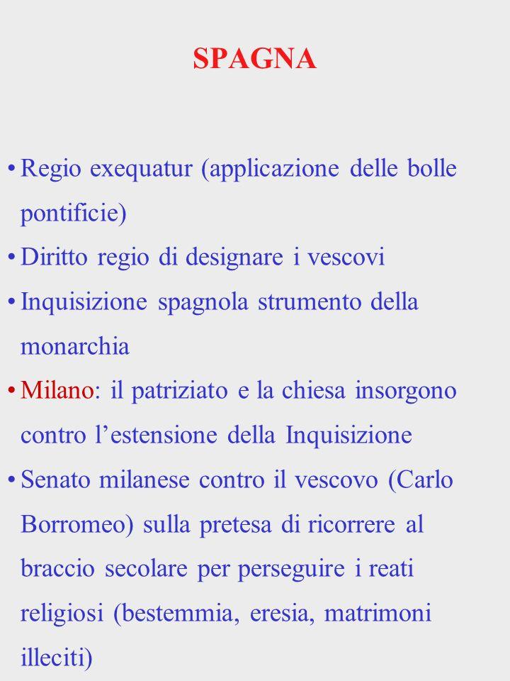 SPAGNA Regio exequatur (applicazione delle bolle pontificie)