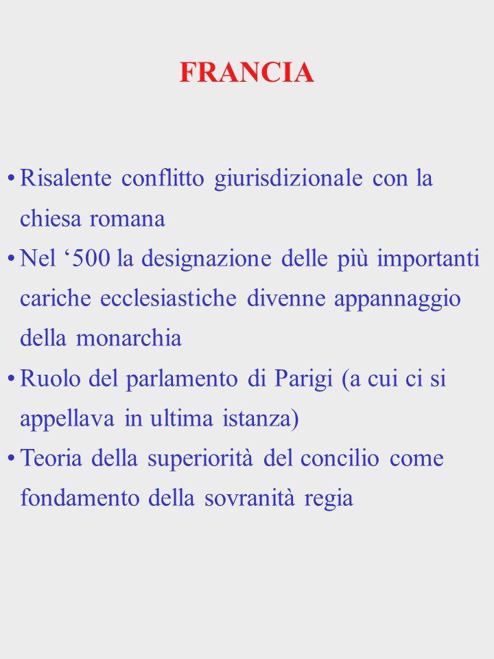 FRANCIA Risalente conflitto giurisdizionale con la chiesa romana