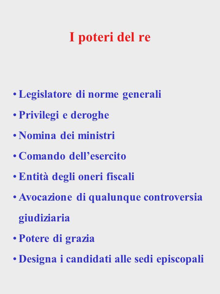 I poteri del re Legislatore di norme generali Privilegi e deroghe