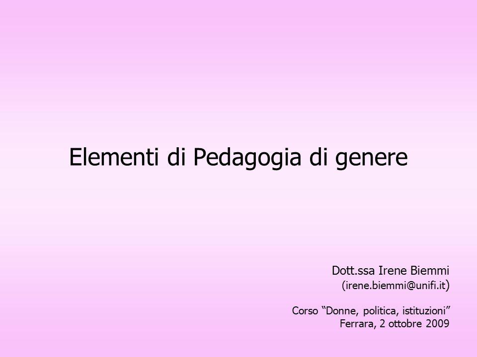 Elementi di Pedagogia di genere