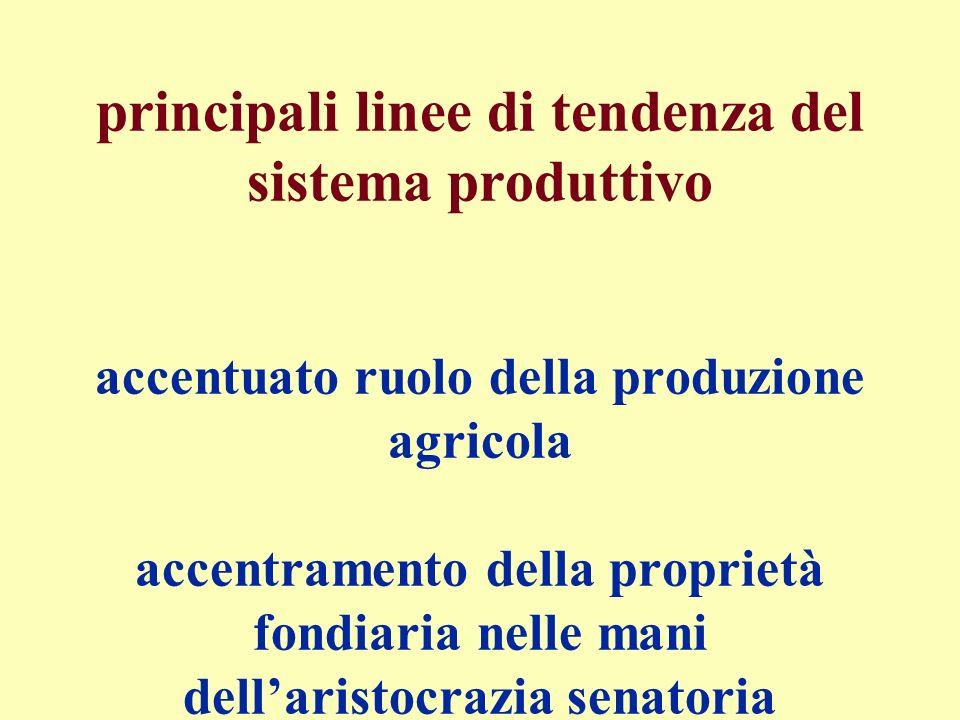 principali linee di tendenza del sistema produttivo accentuato ruolo della produzione agricola accentramento della proprietà fondiaria nelle mani dell'aristocrazia senatoria