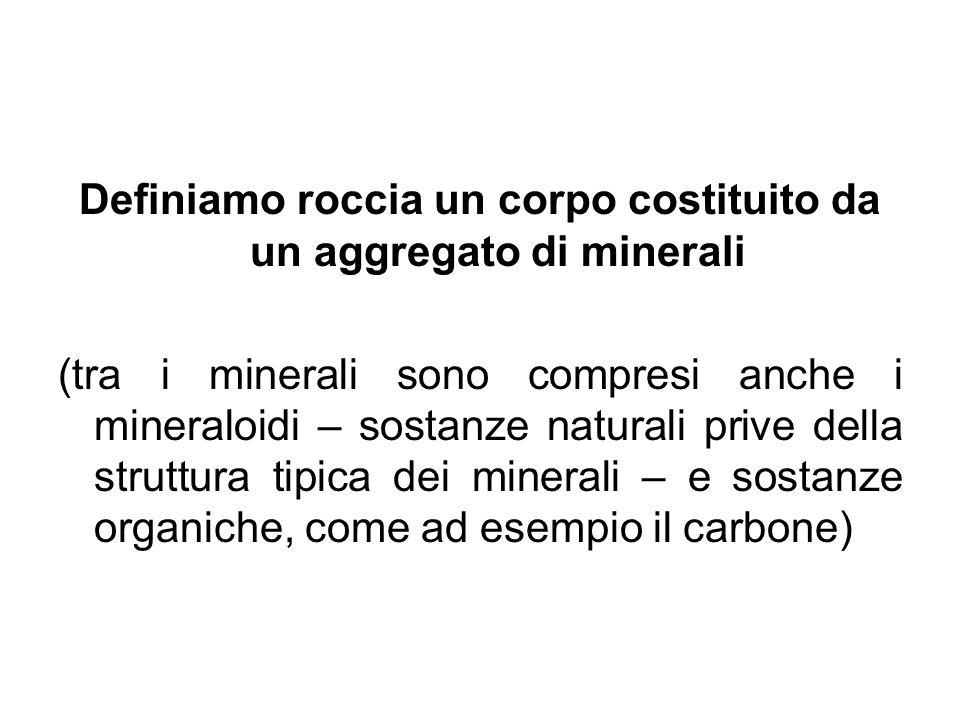Definiamo roccia un corpo costituito da un aggregato di minerali