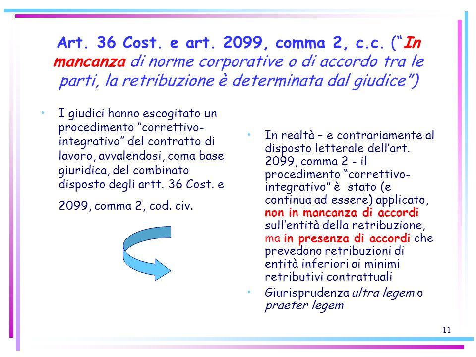 Art. 36 Cost. e art. 2099, comma 2, c.c. ( In mancanza di norme corporative o di accordo tra le parti, la retribuzione è determinata dal giudice )