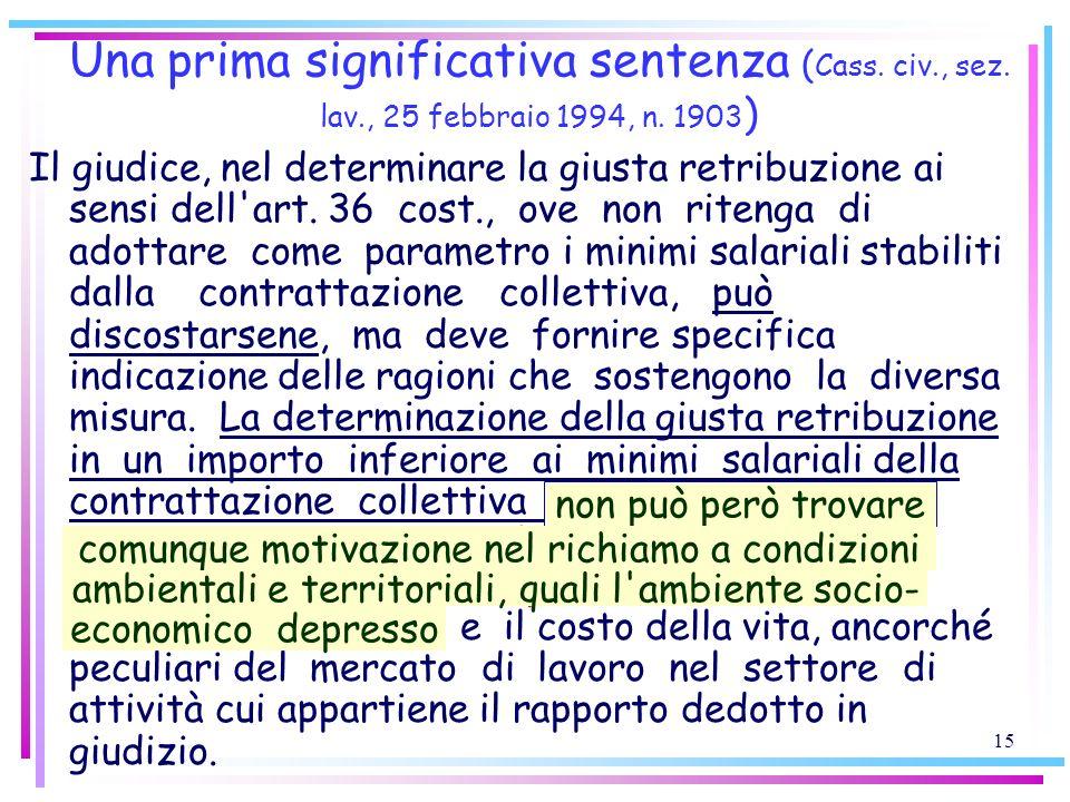 Una prima significativa sentenza (Cass. civ. , sez. lav