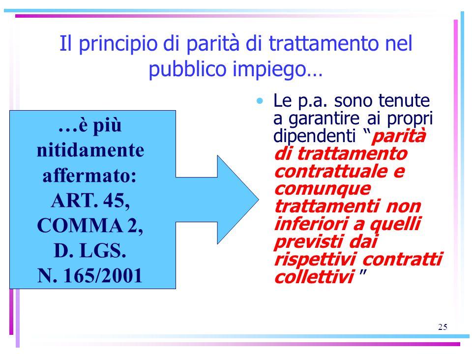Il principio di parità di trattamento nel pubblico impiego…