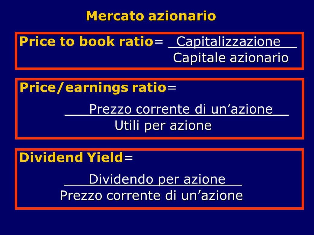 Mercato azionario Price to book ratio= _Capitalizzazione__. Capitale azionario. Price/earnings ratio=
