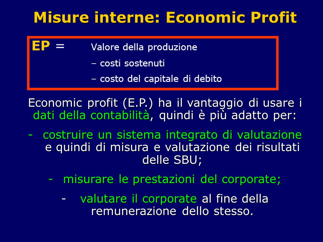 Misure interne: Economic Profit