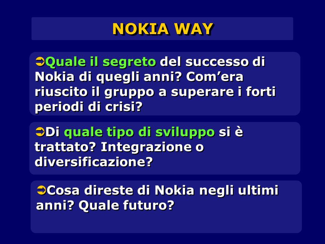 NOKIA WAY Quale il segreto del successo di Nokia di quegli anni Com'era riuscito il gruppo a superare i forti periodi di crisi