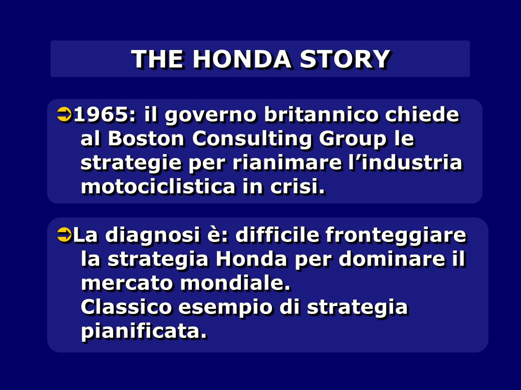 THE HONDA STORY 1965: il governo britannico chiede al Boston Consulting Group le strategie per rianimare l'industria motociclistica in crisi.