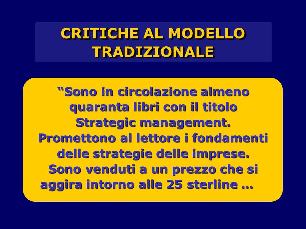 CRITICHE AL MODELLO TRADIZIONALE