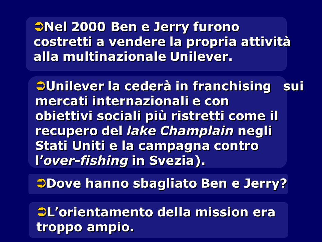 Nel 2000 Ben e Jerry furono costretti a vendere la propria attività alla multinazionale Unilever.