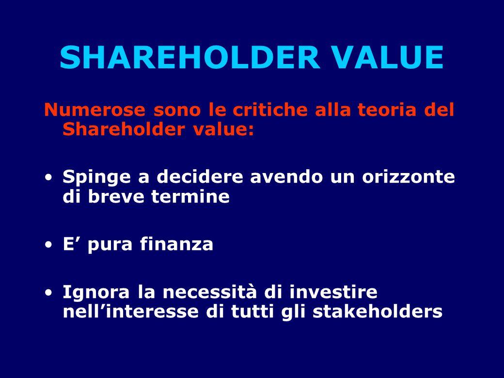 SHAREHOLDER VALUE Numerose sono le critiche alla teoria del Shareholder value: Spinge a decidere avendo un orizzonte di breve termine.
