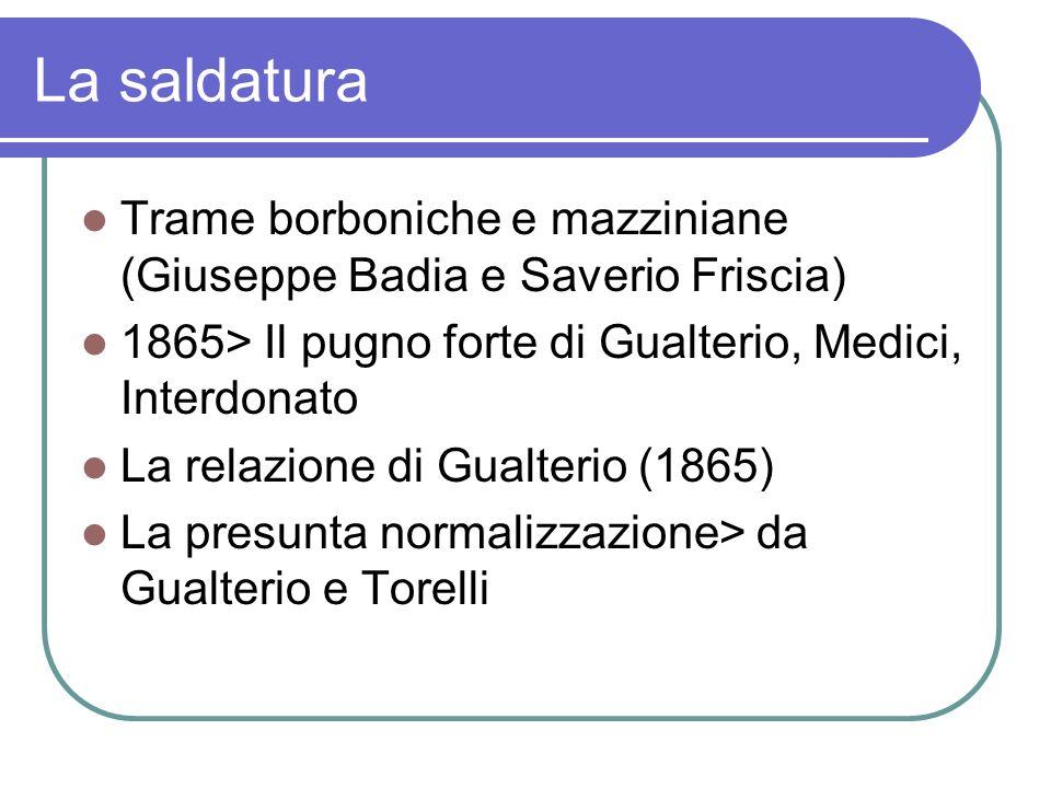 La saldatura Trame borboniche e mazziniane (Giuseppe Badia e Saverio Friscia) 1865> Il pugno forte di Gualterio, Medici, Interdonato.