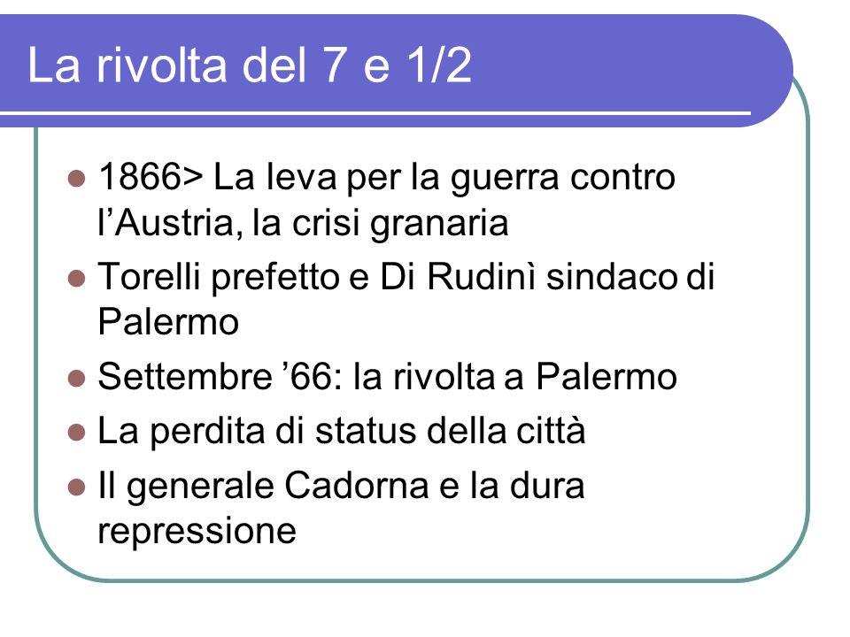 La rivolta del 7 e 1/2 1866> La leva per la guerra contro l'Austria, la crisi granaria. Torelli prefetto e Di Rudinì sindaco di Palermo.