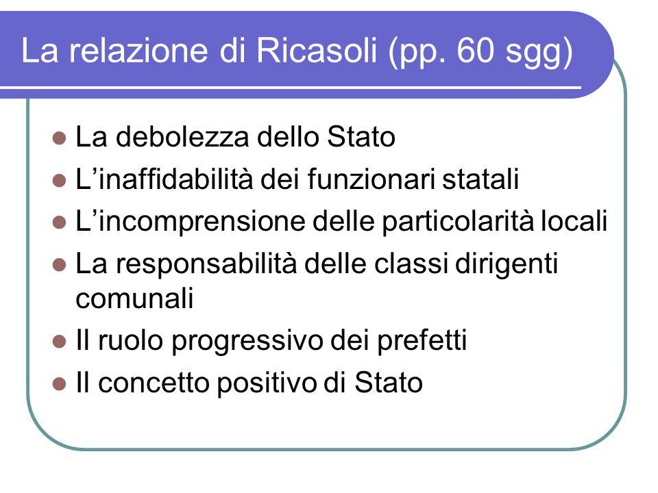 La relazione di Ricasoli (pp. 60 sgg)