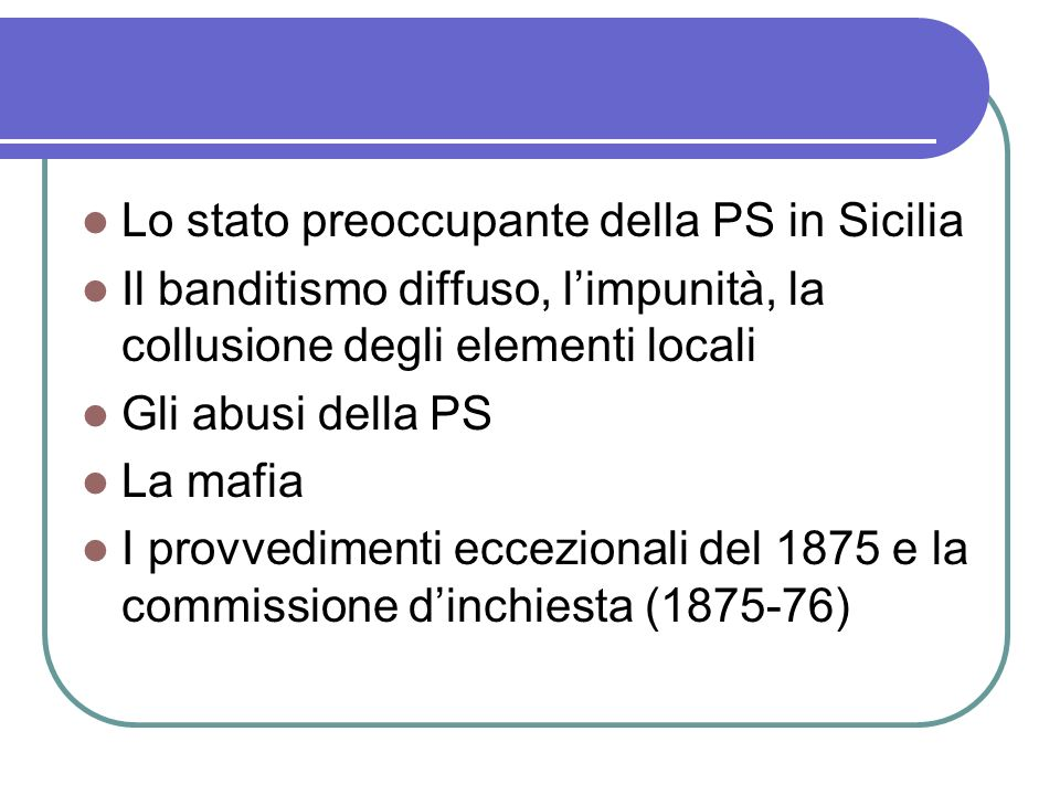 Lo stato preoccupante della PS in Sicilia