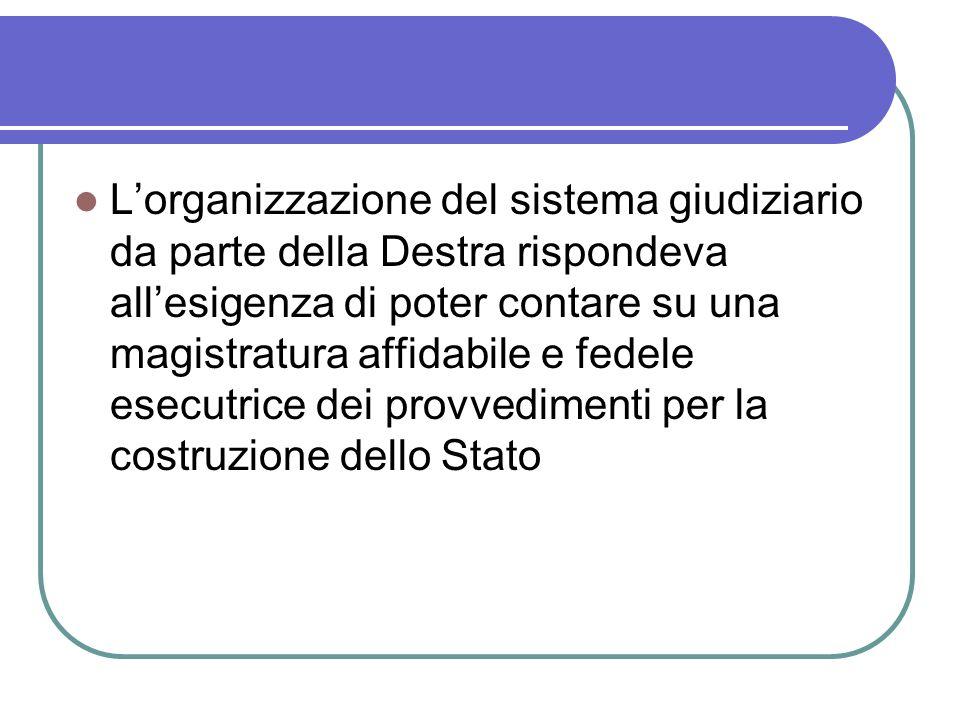 L'organizzazione del sistema giudiziario da parte della Destra rispondeva all'esigenza di poter contare su una magistratura affidabile e fedele esecutrice dei provvedimenti per la costruzione dello Stato