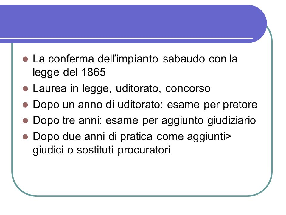 La conferma dell'impianto sabaudo con la legge del 1865