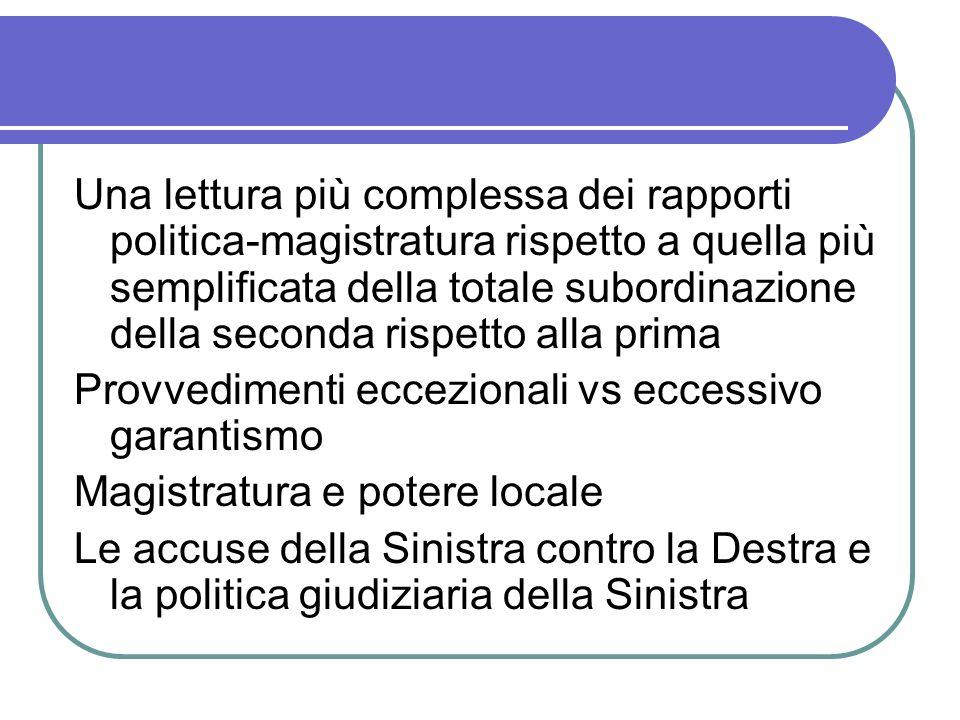 Una lettura più complessa dei rapporti politica-magistratura rispetto a quella più semplificata della totale subordinazione della seconda rispetto alla prima