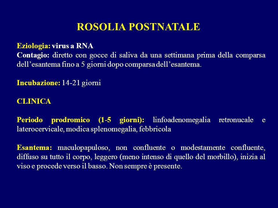 ROSOLIA POSTNATALE Eziologia: virus a RNA