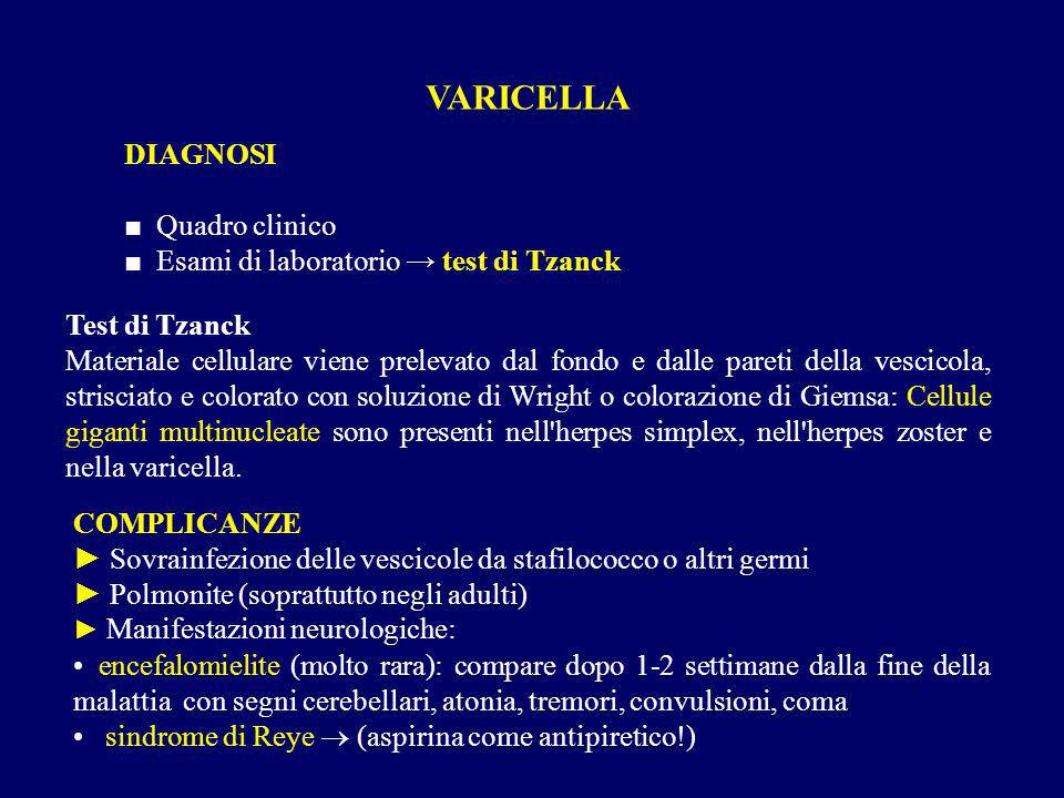 VARICELLA DIAGNOSI ■ Quadro clinico