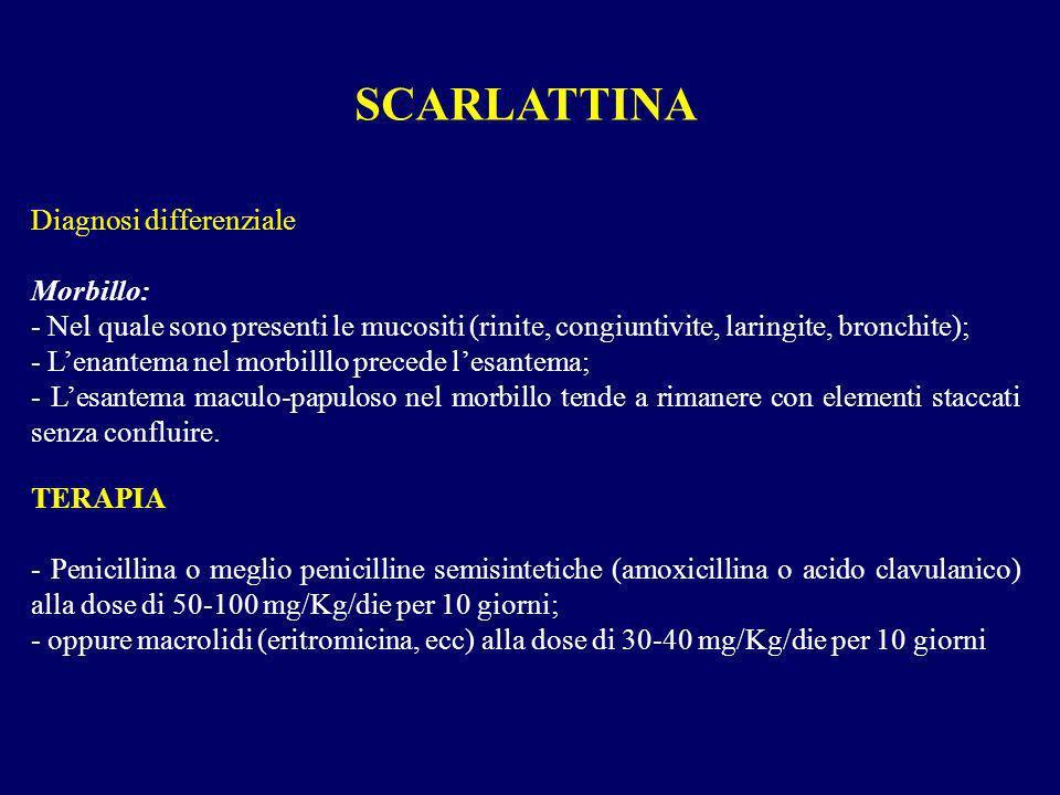 SCARLATTINA Diagnosi differenziale Morbillo:
