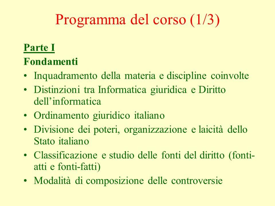Programma del corso (1/3)