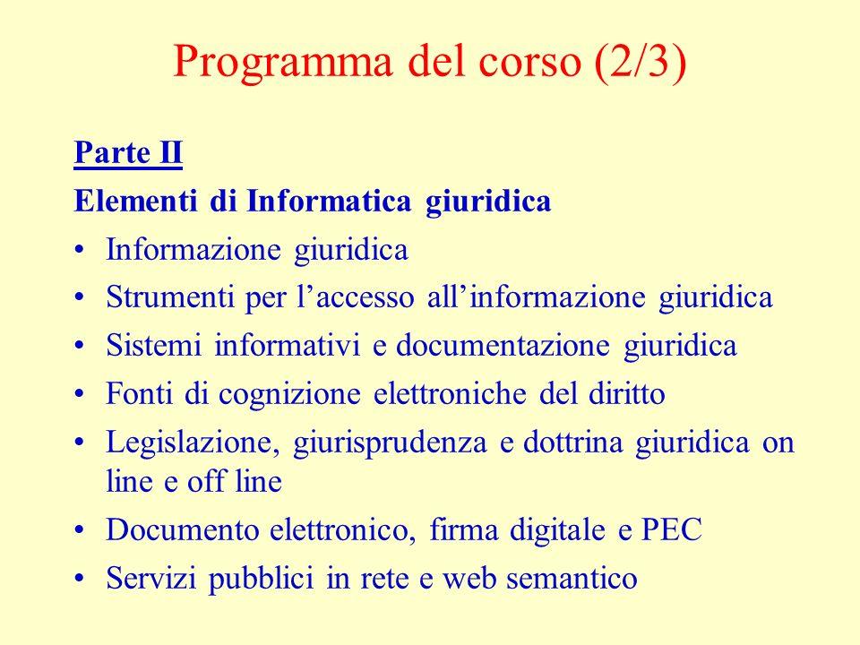 Programma del corso (2/3)
