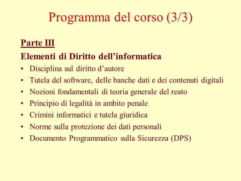 Programma del corso (3/3)