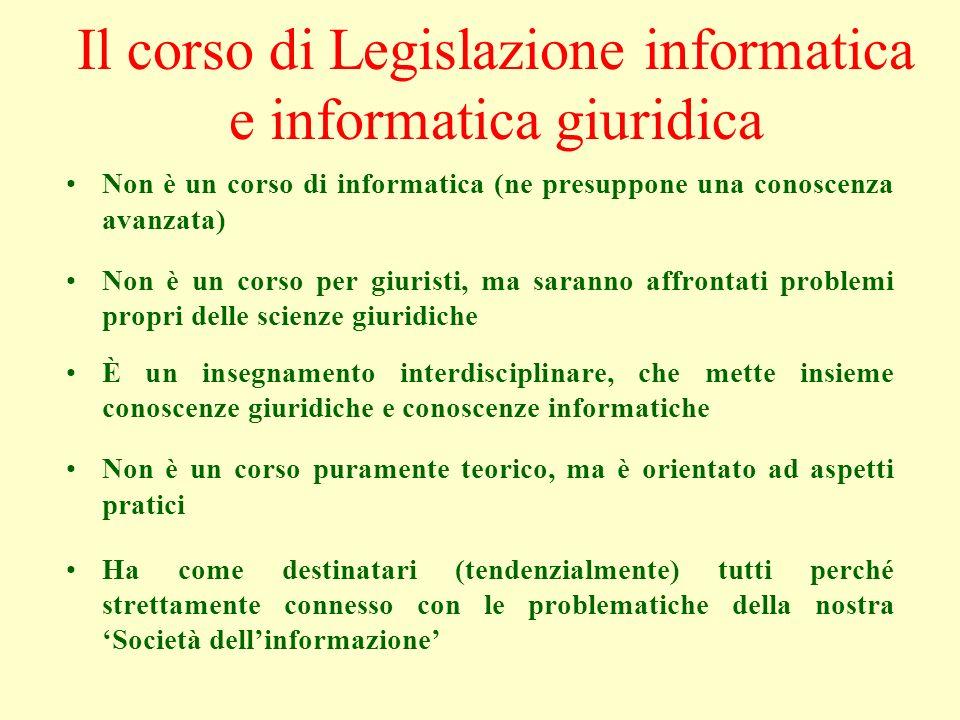 Il corso di Legislazione informatica e informatica giuridica