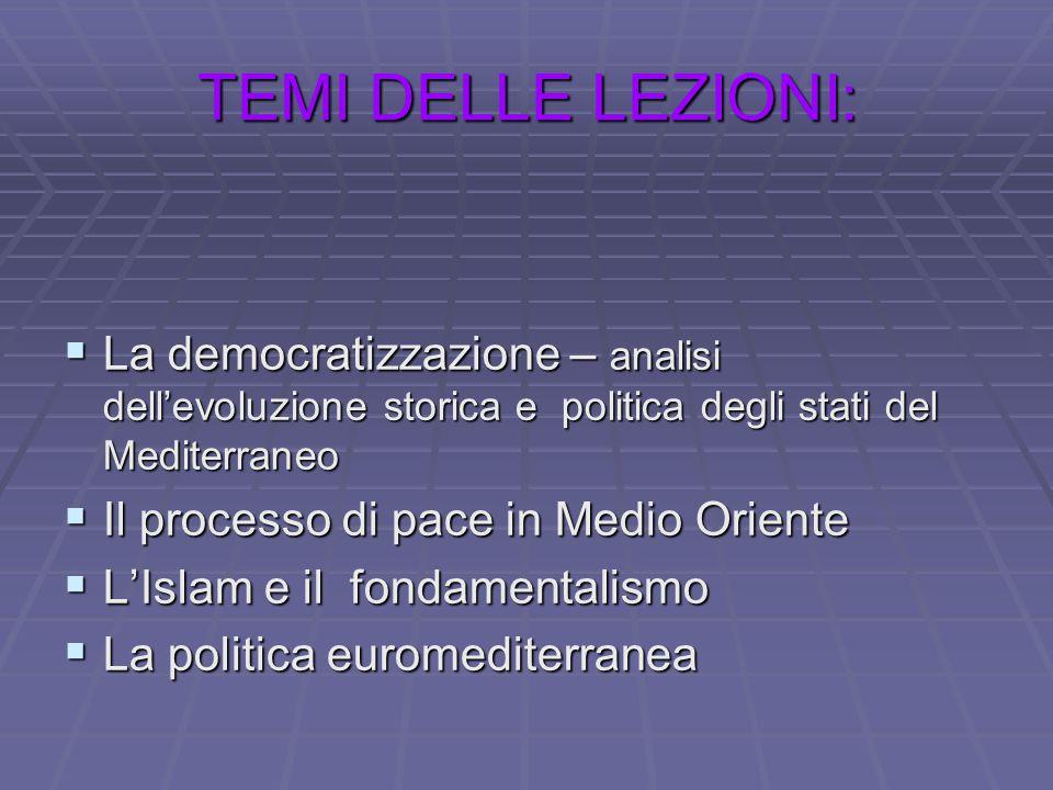 TEMI DELLE LEZIONI: La democratizzazione – analisi dell'evoluzione storica e politica degli stati del Mediterraneo.