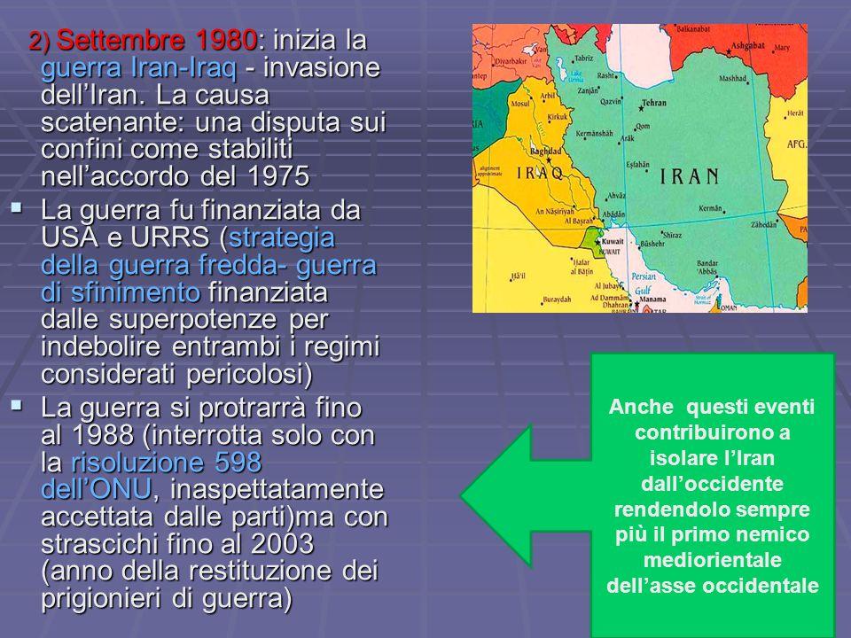2) Settembre 1980: inizia la guerra Iran-Iraq - invasione dell'Iran