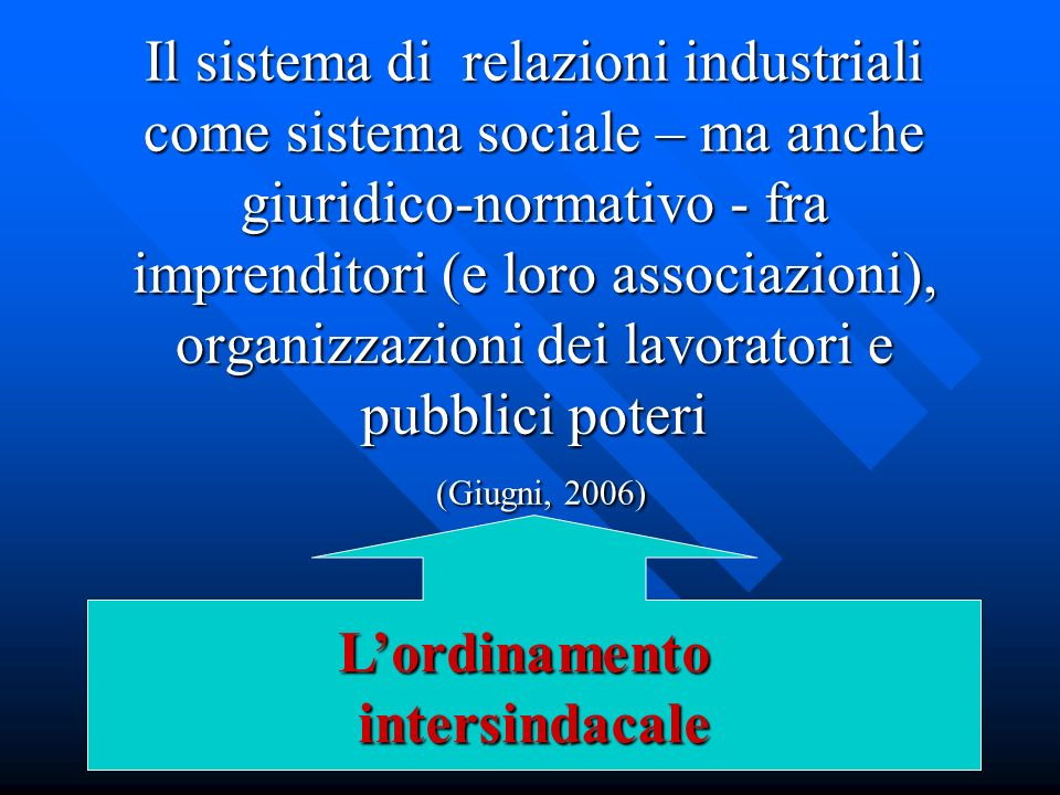 Il sistema di relazioni industriali come sistema sociale – ma anche giuridico-normativo - fra imprenditori (e loro associazioni), organizzazioni dei lavoratori e pubblici poteri (Giugni, 2006)