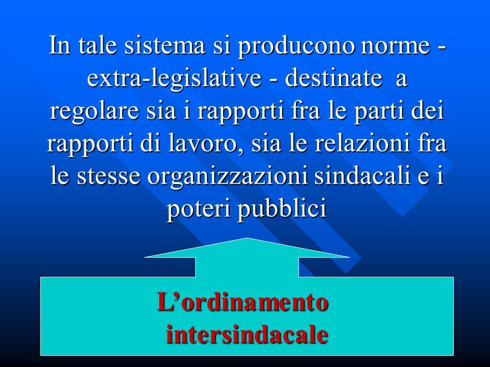 In tale sistema si producono norme - extra-legislative - destinate a regolare sia i rapporti fra le parti dei rapporti di lavoro, sia le relazioni fra le stesse organizzazioni sindacali e i poteri pubblici