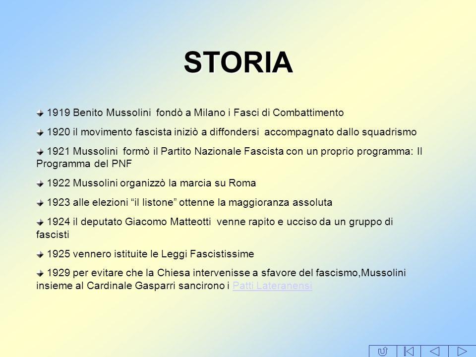 STORIA 1919 Benito Mussolini fondò a Milano i Fasci di Combattimento