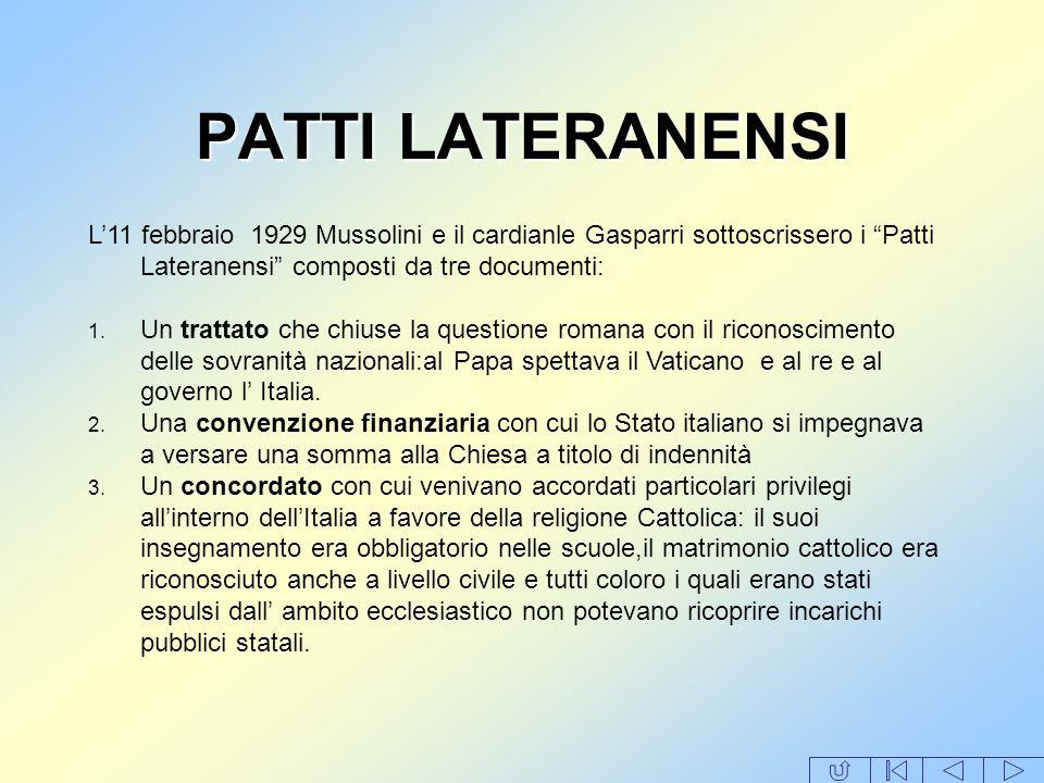 PATTI LATERANENSI L'11 febbraio 1929 Mussolini e il cardianle Gasparri sottoscrissero i Patti Lateranensi composti da tre documenti: