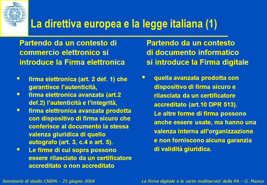 La direttiva europea e la legge italiana (1)