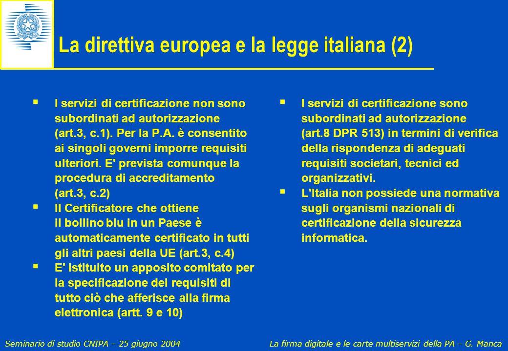 La direttiva europea e la legge italiana (2)