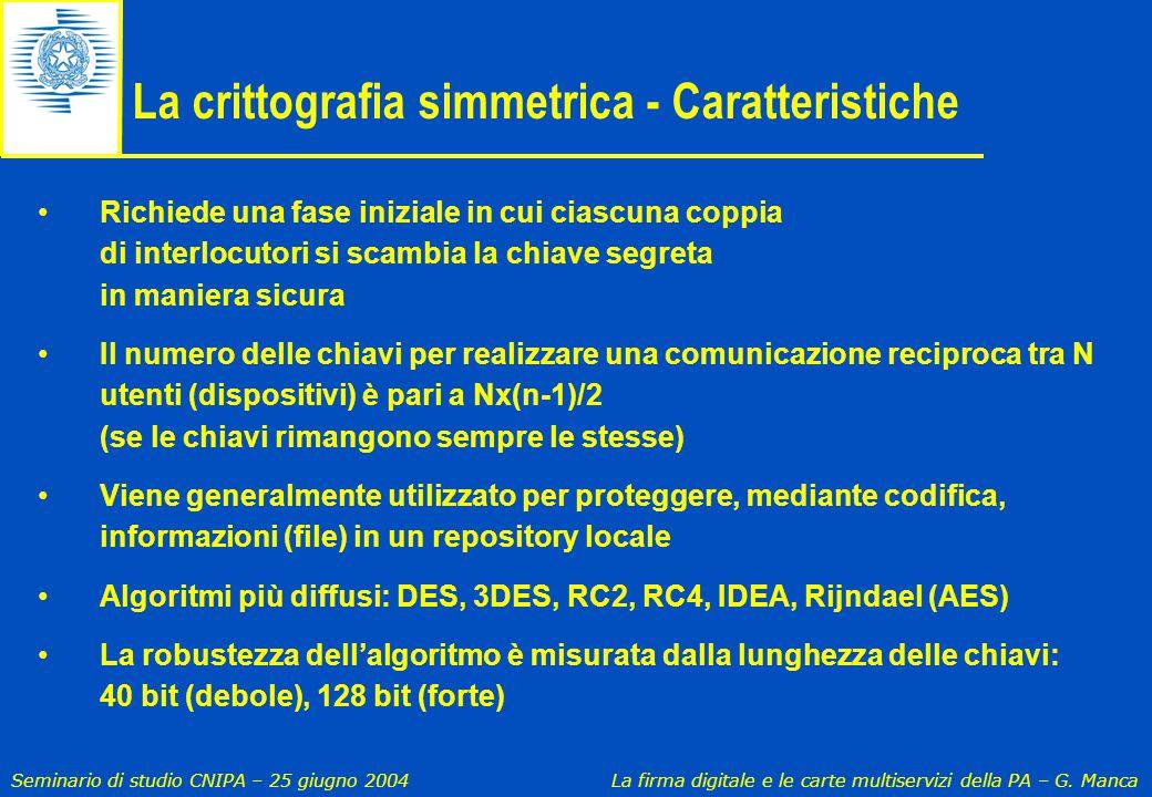La crittografia simmetrica - Caratteristiche