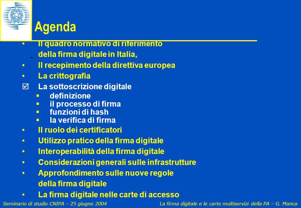 Agenda Il quadro normativo di riferimento della firma digitale in Italia, Il recepimento della direttiva europea.