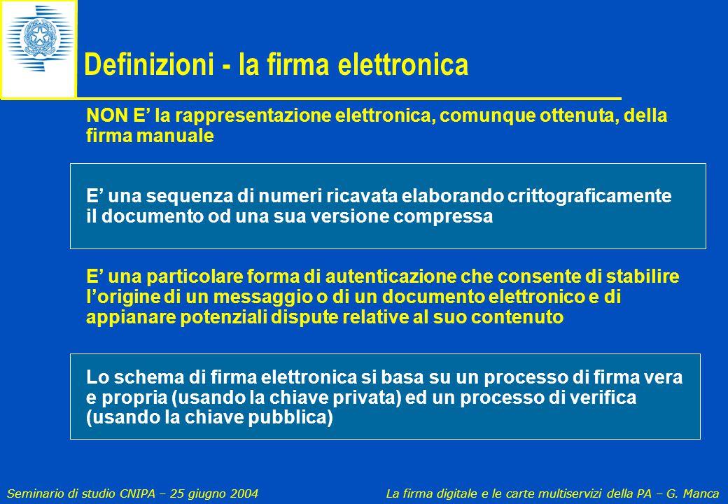 Definizioni - la firma elettronica
